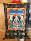 White Tara Bodisattva Asian Art Large Thankahand painted With Brocade Frame