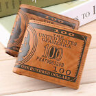 US Dollar Bill Wallet Brown PU Leather Wallet BifoldCredit Card Photo Thrifty FE