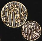 PAIR of ANTIQUE Vintage Brass BUTTONS BAMBOO Plant Life Large and Medium