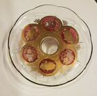 Vintage Mid century Pedestal Cake Plate Footed stand Cera Red and gold fruit