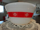 Vintage Federal Milk Glass Red/White Gingham Mixing Bowl