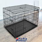 Portable Black 36 Large 2 Doors Pet Cat Dog Crate Cage Pen Kennel w ABS Tray