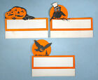 1930s 3 Original Halloween Party Table Place Cards Die cut Owl Jack o lantern