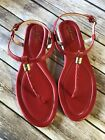 Cole Haan Womens Sz 8.5B Red Thong T-Strap Slingback Padded Flat Sandals