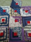 11 civil war era fabric log cabin blocks great condition quilt pre-shrunk ironed