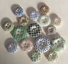 Lot 16 Antique China Calico Button Old Variety Patterns Colors
