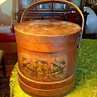 LARGE ANTIQUE WOODEN SHAKER/FIRKIN SUGAR BUCKET-WITH LID-VERY OLD, VERY STRONG