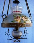 ANTIQUE HANGING CEILING PARLOR LIBRARY OIL LIGHT LAMP HAND PAINTED GLOBE SHADE