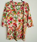 J Crew Womens Pink Green Floral Tissue Tunic Top Blouse Size S 3 4 Sleeve Shirt