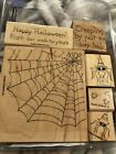 Stampin Up WEB WISHES SPIDER  Happy HALLOWEEN  Wood Mount Stamps