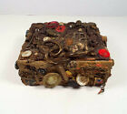 Primitive Robt Burns Tobacco Box Steampunk Tramp Art Buttons Jewelry Miniatures