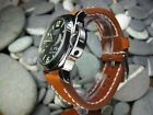 26mm NEW COW LEATHER STRAP Light Brown Watch Band White Stitch PANERAI 26 mm
