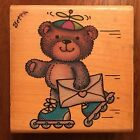 RUBBER STAMPEDE LARGE ROLLER BEAR RUBBER STAMP Roller Skating Teddy Bear