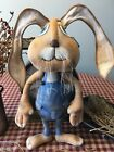 Primitive* Hand-crafted* Large Bunny * shelf Sitter* Easter Rabbit Doll*  Ornies