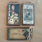 5 Handcrafted Wooden Christmas Ornaments, PRIM Winter HangTags, Gift Tags Set;05