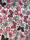 Cotton Snuggle Flannel Fabric BTHY BTY Pink Gray Floral Butterfly on White
