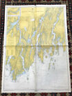 VINTAGE 1950s Nautical Chart Maine Damariscotta River and Surround Sailing NOAA