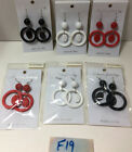 Red White & Black Retro Circle Dangle Fish-hook Earrings NWT 6pairs NEW #F19