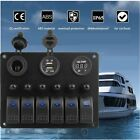 6 Gang LED Waterproof Switch Panel Circuit Breakers Charger 12V USB Boat MariME