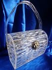 VINTAGE  WILARDY CLEAR CARVED LUCITE CARVED PURSE STUNNING DESIGN SILVER CLASP!!