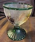 Vintage Green Glass Footed Compote/Candy Dish with Grapes and Leaves Pattern