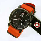 NEW GENTS $195 WENGER SM 41MM BLACK DIAL PVD SS WATCH W/ORANGE CANVAS BAND 41331