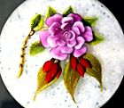 GORGEOUS Large VICTOR TRABUCCO Purple FLOWER on Latticino Art Glass PAPERWEIGHT
