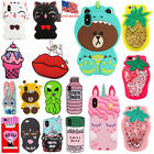 3D Cute Cartoon Soft Silicone Rubber Case For Apple iPhone Series X 5 6 7 8 Plus