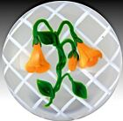 Large VICTOR TRABUCCO Orange MORNING GLORY Flowers TRELLIS Art Glass PAPERWEIGHT