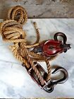 Antique Vintage Cast Iron BLOCK and TACKLE  No. 4  w/Iron Hooks 30ft Rope