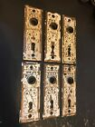 6 ANTIQUE SHABBY CHIPPY COTTAGE BRASS PLATED EASTLAKE VICTORIAN DOOR KNOB PLATES