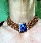 handmade Blue Lapis gemstone in brutalist vibe chain mail mesh copper choker.