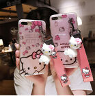Cute Hello Kitty Stand Bling Glitter Strap Case Cover for iPhone XS Max XR 7 8+