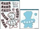 Dare 2B Artzy Teddy Bear Banner Clear Cling Rubber Stamp and Die Set Bundle