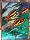 OOAK Stained Glass Panel Fish Ocean Transom Suncatcher Tiffany Style