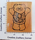 This Much Bear with glasses and plaid bow Rubber Stamp DOTS Cardmaking B192