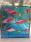 OOAK Stained Glass Transom Window Fish Ocean Suncatcher Panel Tiffany Style