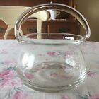 Vintage ESTATE Crystal Clear Glass BASKET w/ APPLIED HANDLE Round w/ Flared Edge