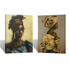 Native African Women Oil Paint TWO PIECE Canvas Print Wall Art Home Room Decor