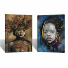 Native African Oil Painting TWO PIECE Canvas Print Wall Art Home Room Decor