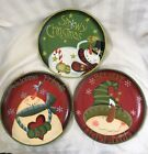 3 Hand Painted Wood Christmas Plates BELIEVE-SNOWY CHRISTMAD-WELCOME FRIENDS