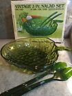 Vtg 50s/60s INDIANA GLASS 3 Pc OLIVE #0823 Green SALAD BOWL SET Original Box NEW