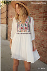 UMGEE Off White Floral Embroidered Tassel Detail Boho Dress USA Boutique