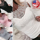 USA HOT Women Sexy Solid Lace Cold Shoulder Long Sleeve Slim Blouse Top T Shirt