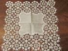 EXQUISITE WHITE HAND MADE LACE HANDKERCHIEF FROM 1890 BEAUTIFUL CONDITION UNUSED