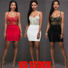 Women 2 Piece Bodycon Two Piece Crop Top and Skirt Set Lace Up Dress Party TT