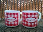 Vintage Federal Milk Glass COFFEE MUGS CUPS GRANMA GRANPA Red Check Bright Paint