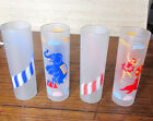 Vintage 4 Circus Frosted Tom Collins / Iced Tea Glasses 1950s