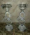 Pair of Clear Glass Crystal Taper Bling 3 Circles Crystal Candle Holder Wedding