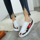 Women Round Toe Lace Up Embroidery Casual Sneaker Flat Boat Shoes